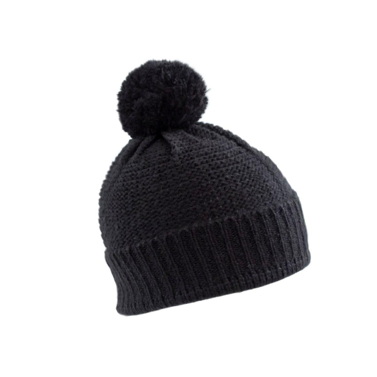Bonnet laine pompon adulte noir