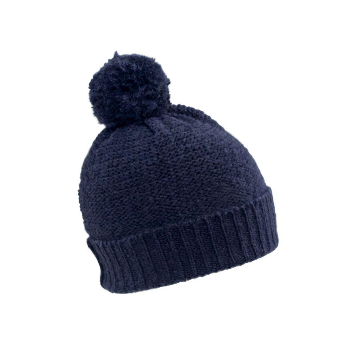 Bonnet laine pompon bleu marine