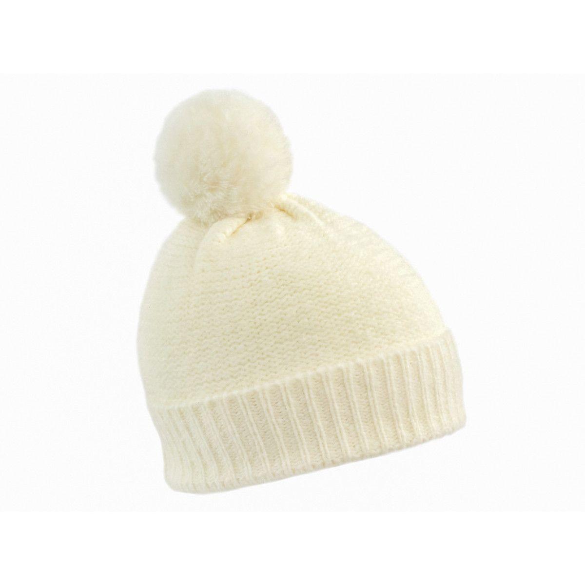 Bonnet laine pompon blanc