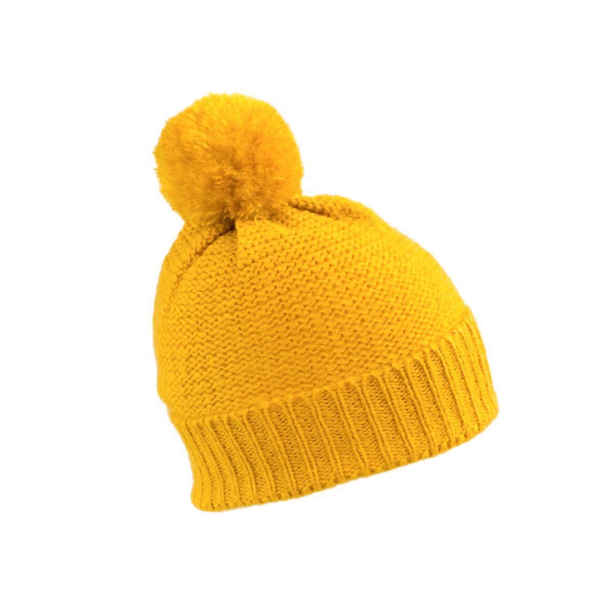 Bonnet laine pompon jaune moutarde