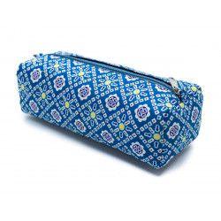 Trousse plumier coton original bleu