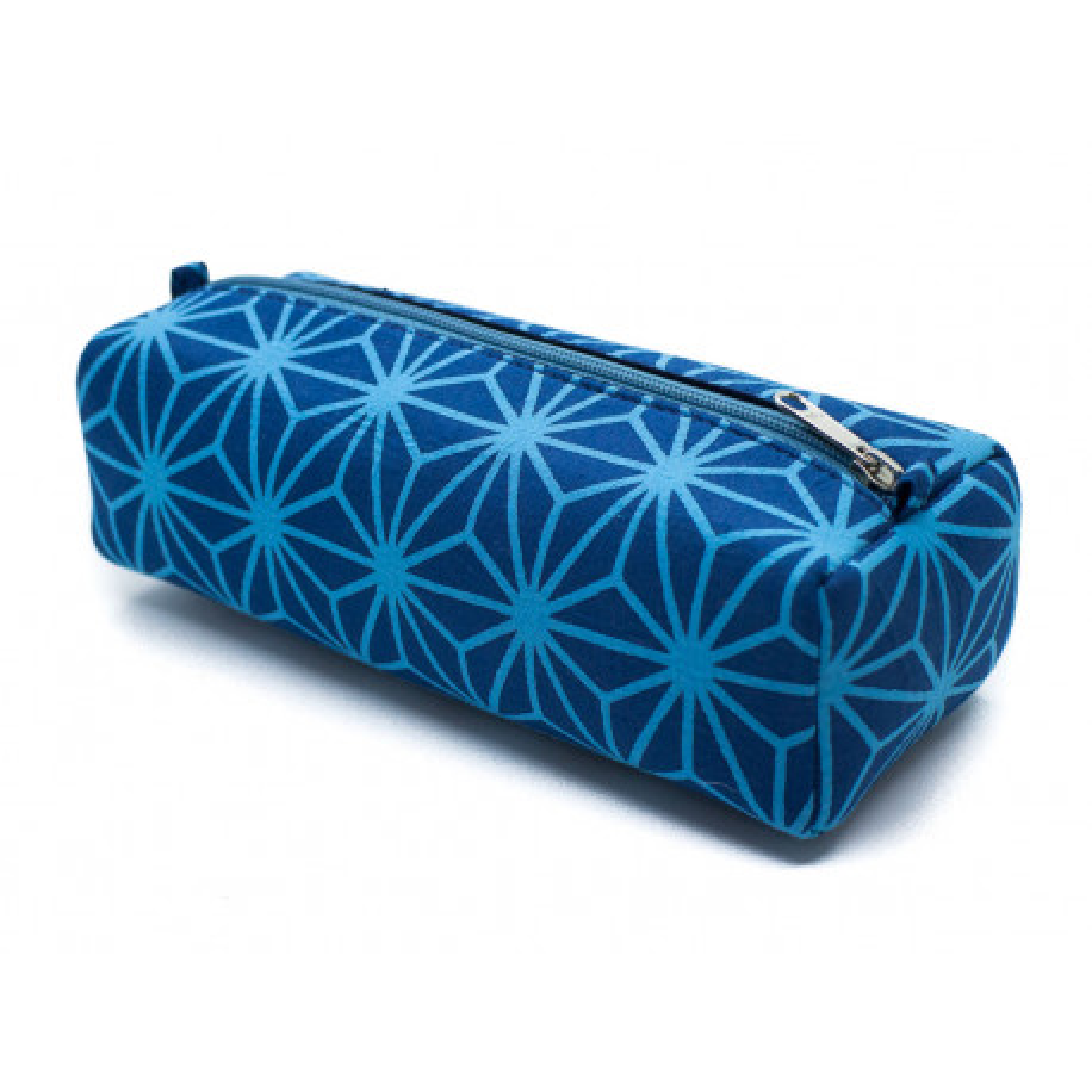 Trousse plumier coton original bleu asanoha