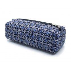 Trousse plumier coton original bleu gris