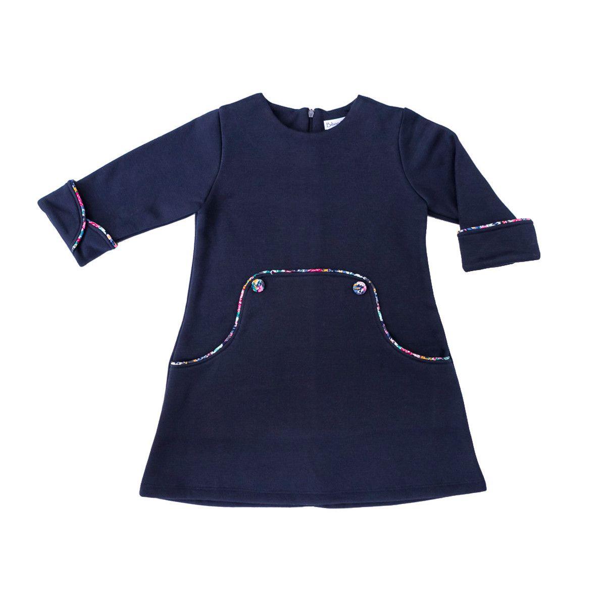 Robe hiver rétro enfant bleu marine