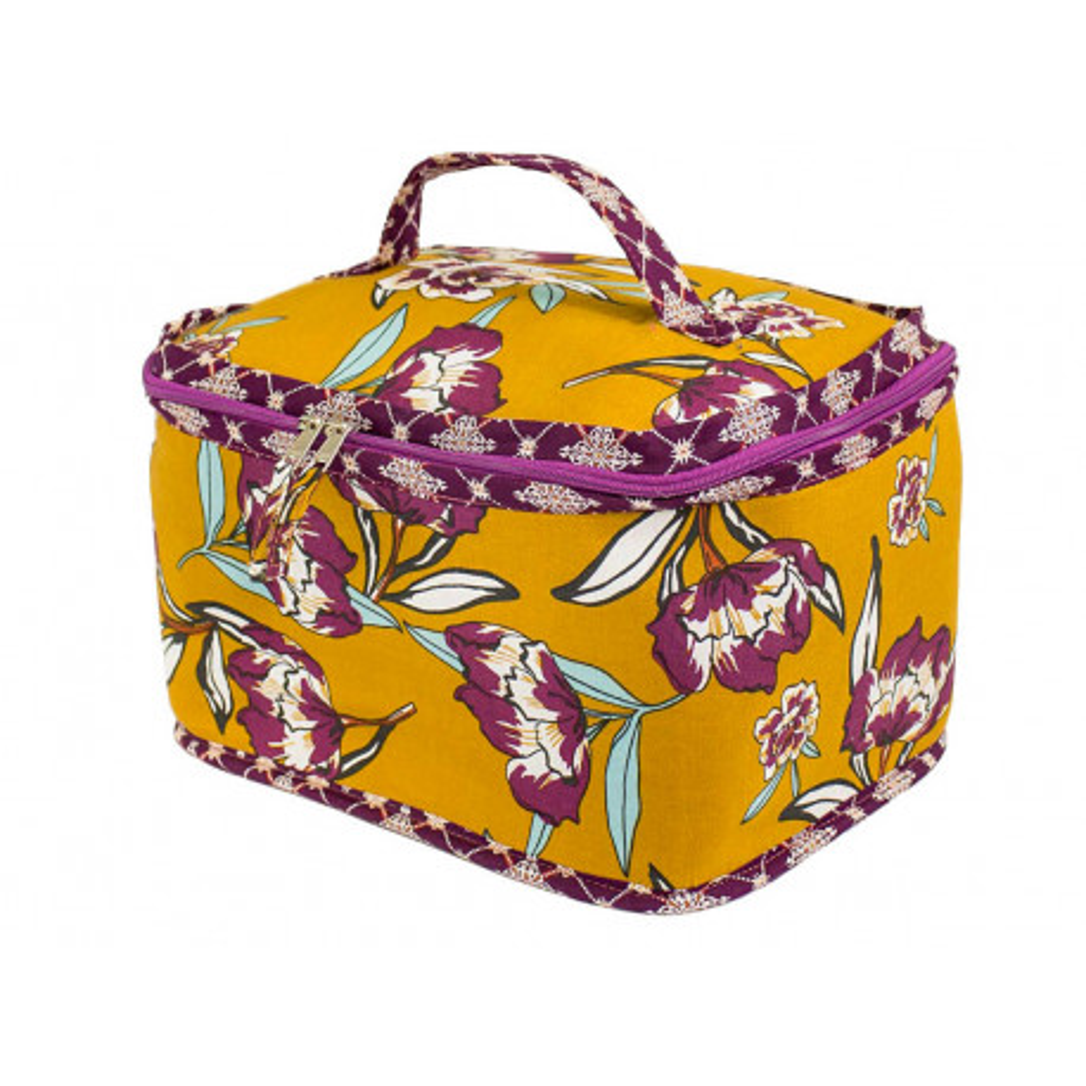 Grand vanity jaune moutarde et fleurs violet prune