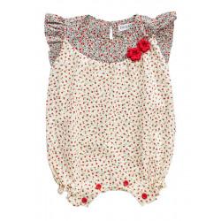 Barboteuse coton bébé fille 0-18 mois blanche et petites fleurs rouges