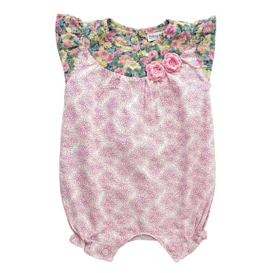 Barboteuse coton bébé fille 0-18 mois fleurs rose poudré et vert