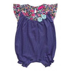 Barboteuse coton bébé fille 0-18 mois bleu marine petit pois et fleurs