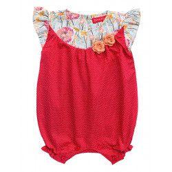 Barboteuse coton bebe fille 0-18 mois rouge fraise petit pois et coquelicot