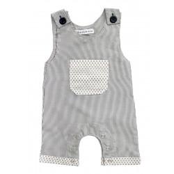 Barboteuse salopette coton bébé 0-18 mois blanc et gris rayures