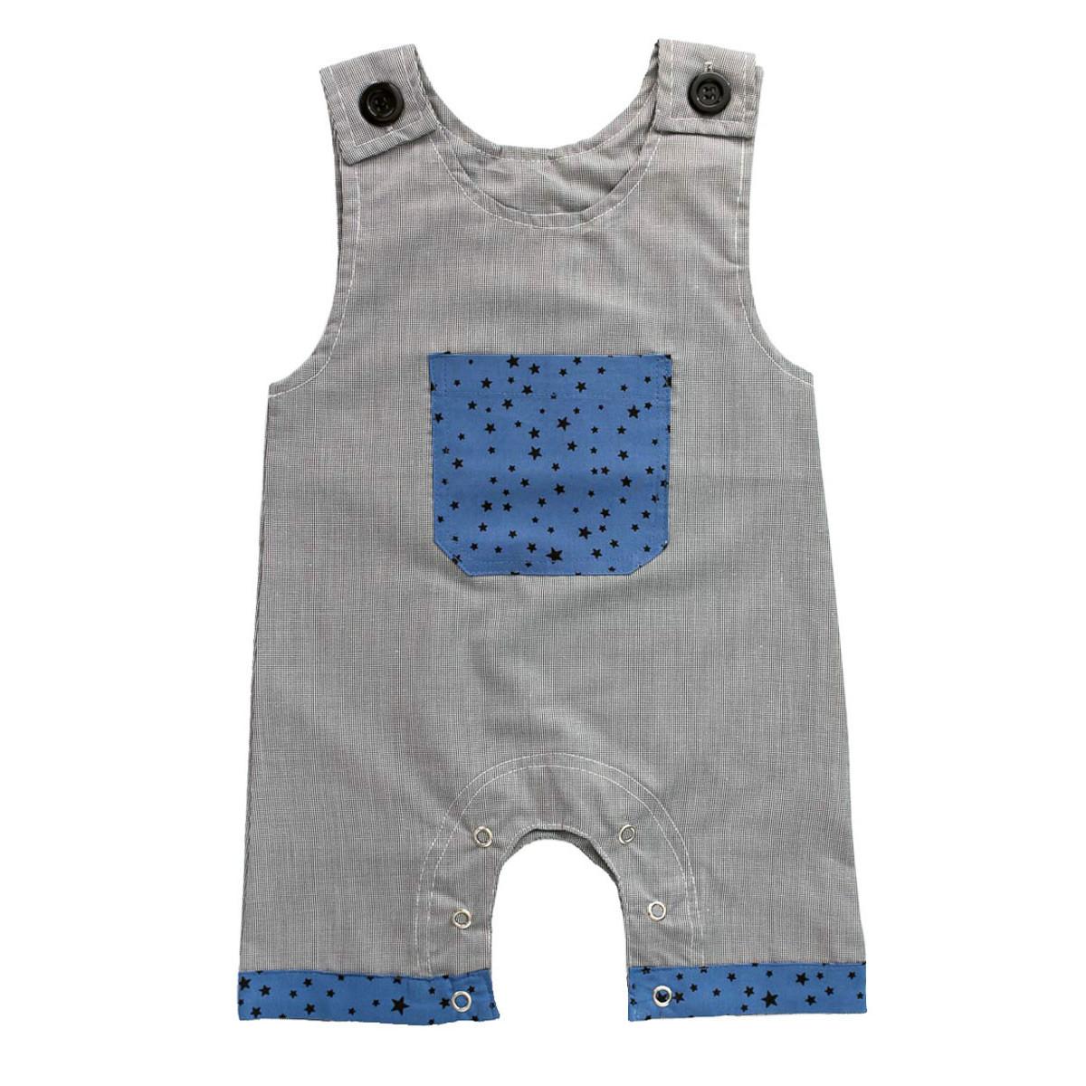 Barboteuse salopette coton bébé 0-18 mois gris et bleu avec étoiles