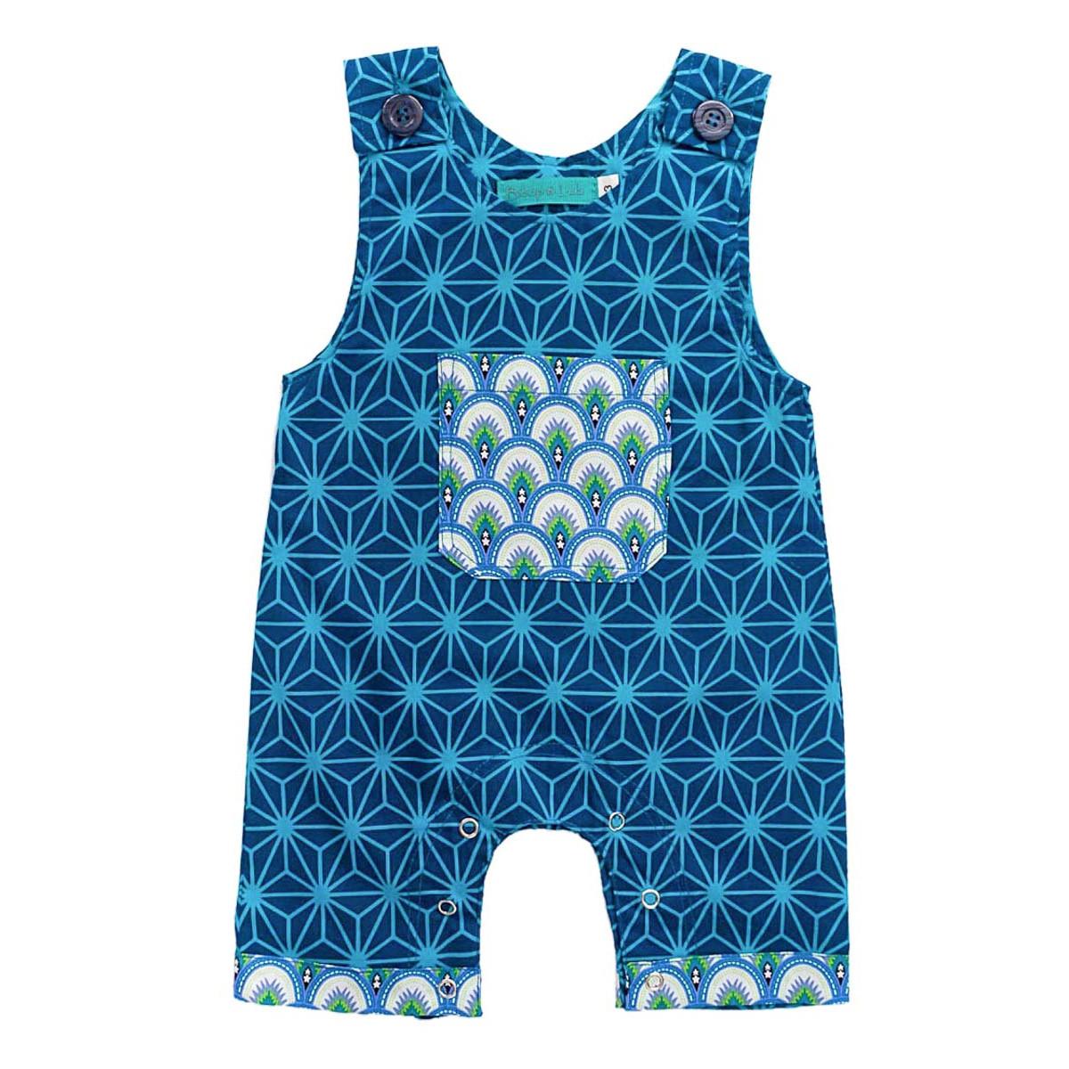 Barboteuse salopette coton bébé 0-24 mois bleu