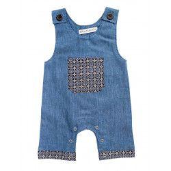 Barboteuse salopette coton bébé 0-24 mois bleu denim