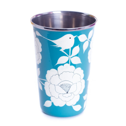 Grand verre inox peint à la main Gaya Blue