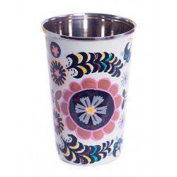 Grand verre inox peint à la main Mincheri