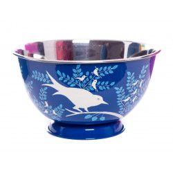 Saladier inox peint à la main Birdy blue