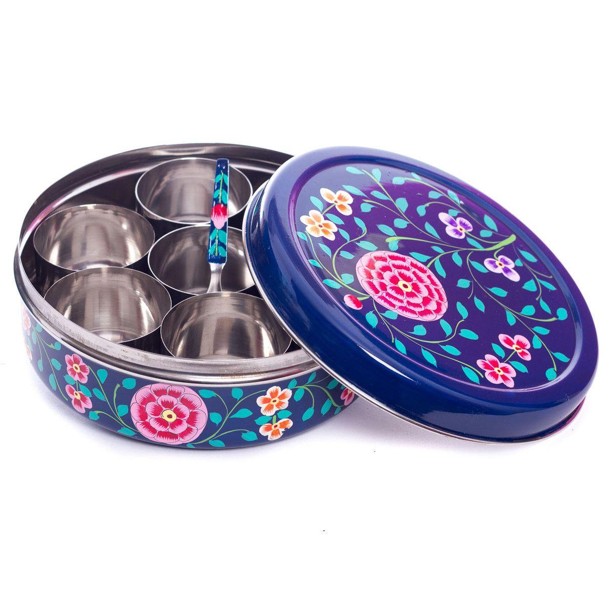 Petite boite à épices inox peinte à la main Korba