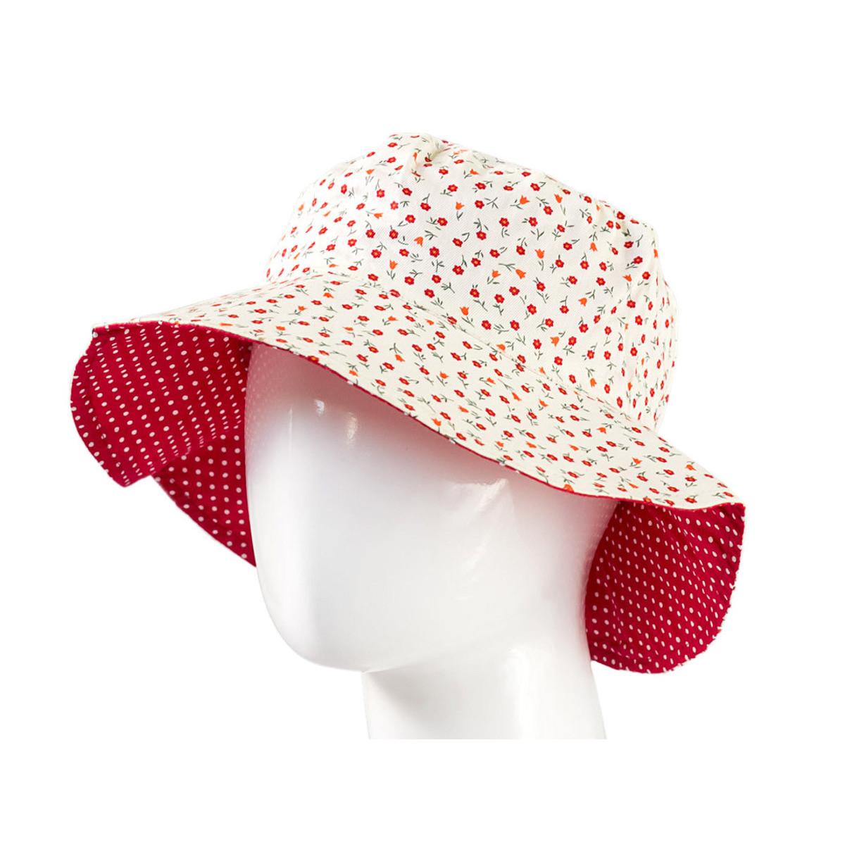 Chapeau coton réversible enfant 1-8 ans rouge et blanc à fleurs