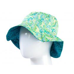 Chapeau coton réversible enfant 1-8 ans bleu et vert papillons