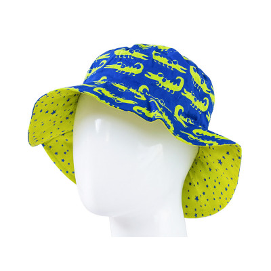 Chapeau coton réversible enfant 1-8 ans bleu et vert étoiles et crocodiles