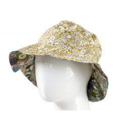 Chapeau coton réversible enfant 1-8 ans vert olive et fleurs