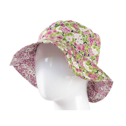 Chapeau coton réversible enfant 1-8 ans fleurs rose et vert pomme