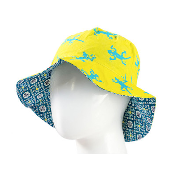 Chapeau coton réversible enfant 1-8 ans geckos bleu et jaune vert