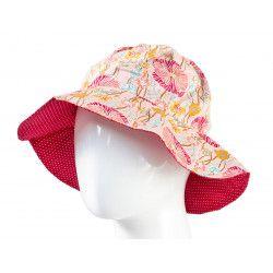 Chapeau coton réversible enfant 1-8 ans rouge et fleurs coquelicot