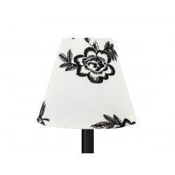 Petit abat-jour conique lampe blanc et fleurs brodées noires