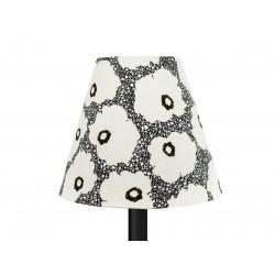 Petit abat-jour conique lampe noir et fleurs coquelicot blanc