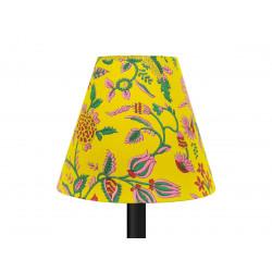 Petit abat-jour conique lampe jaune et fleurs