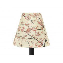 Petit abat-jour conique lampe beige et fleurs cerisiers rose