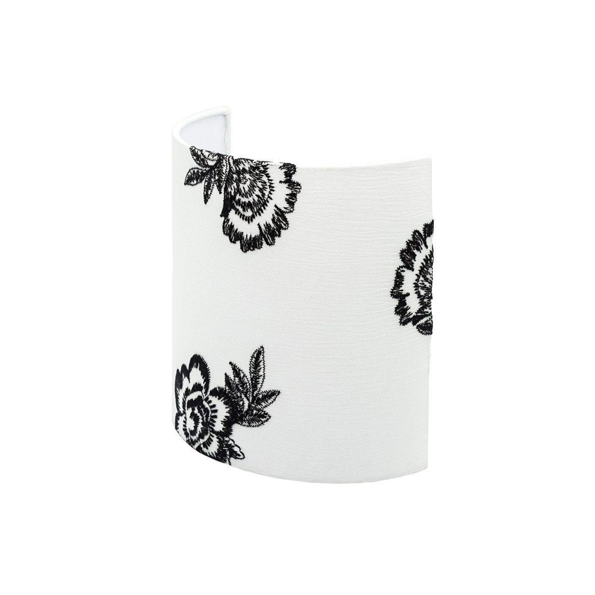 Applique murale demi-lune blanc et fleurs brodées noires