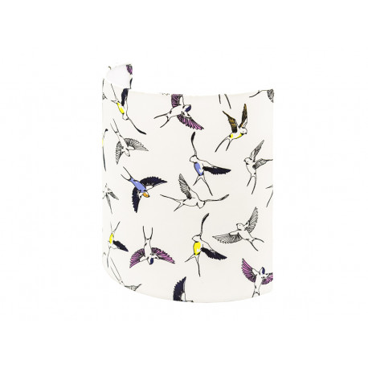 Applique murale demi-lune blanc et oiseaux hirondelles