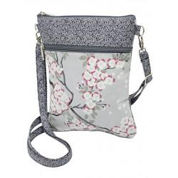 Pochette de voyage bandoulière tissu gris perle et fleurs cerisiers
