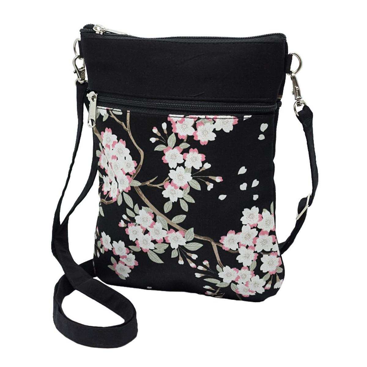 Pochette de voyage bandoulière tissu noir et fleurs cerisiers
