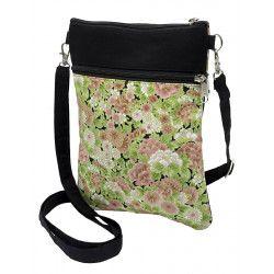 Pochette de voyage bandoulière tissu noir et fleurs rose et vert