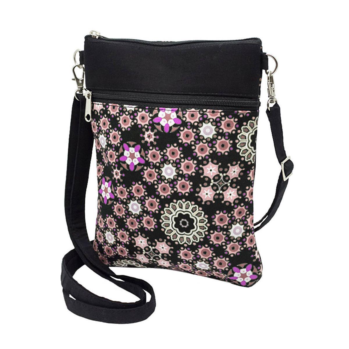 Pochette de voyage bandoulière tissu noir et fleurs rose