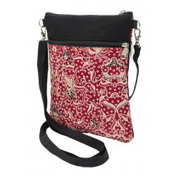 Pochette de voyage bandoulière tissu noir et rouge