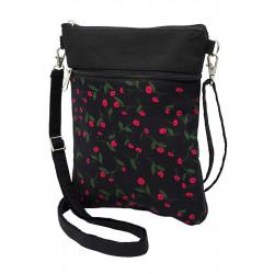 Pochette de voyage bandoulière tissu noir et fleurs rouge fraise