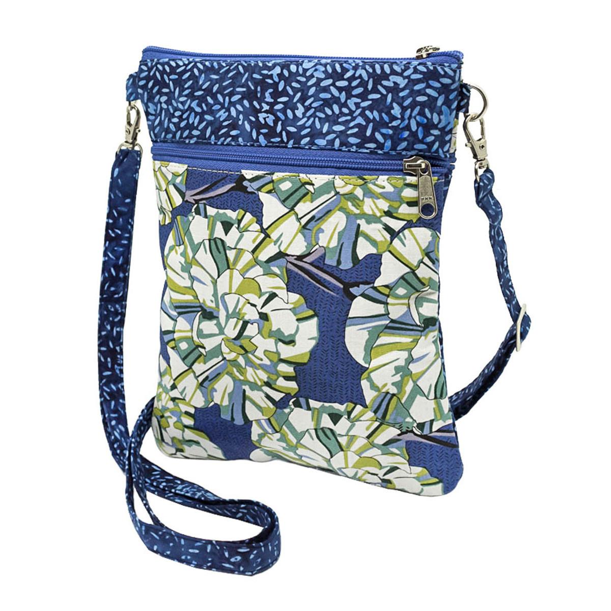 Pochette de voyage bandoulière tissu bleu et vert à fleurs