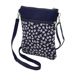 Pochette de voyage bandoulière tissu bleu nuit et fleurs