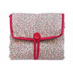 Tapis à langer nomade de voyage bébé coton éponge gris et rouge à fleurs
