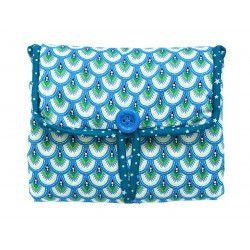 Tapis à langer nomade de voyage bébé coton éponge bleu et étoiles
