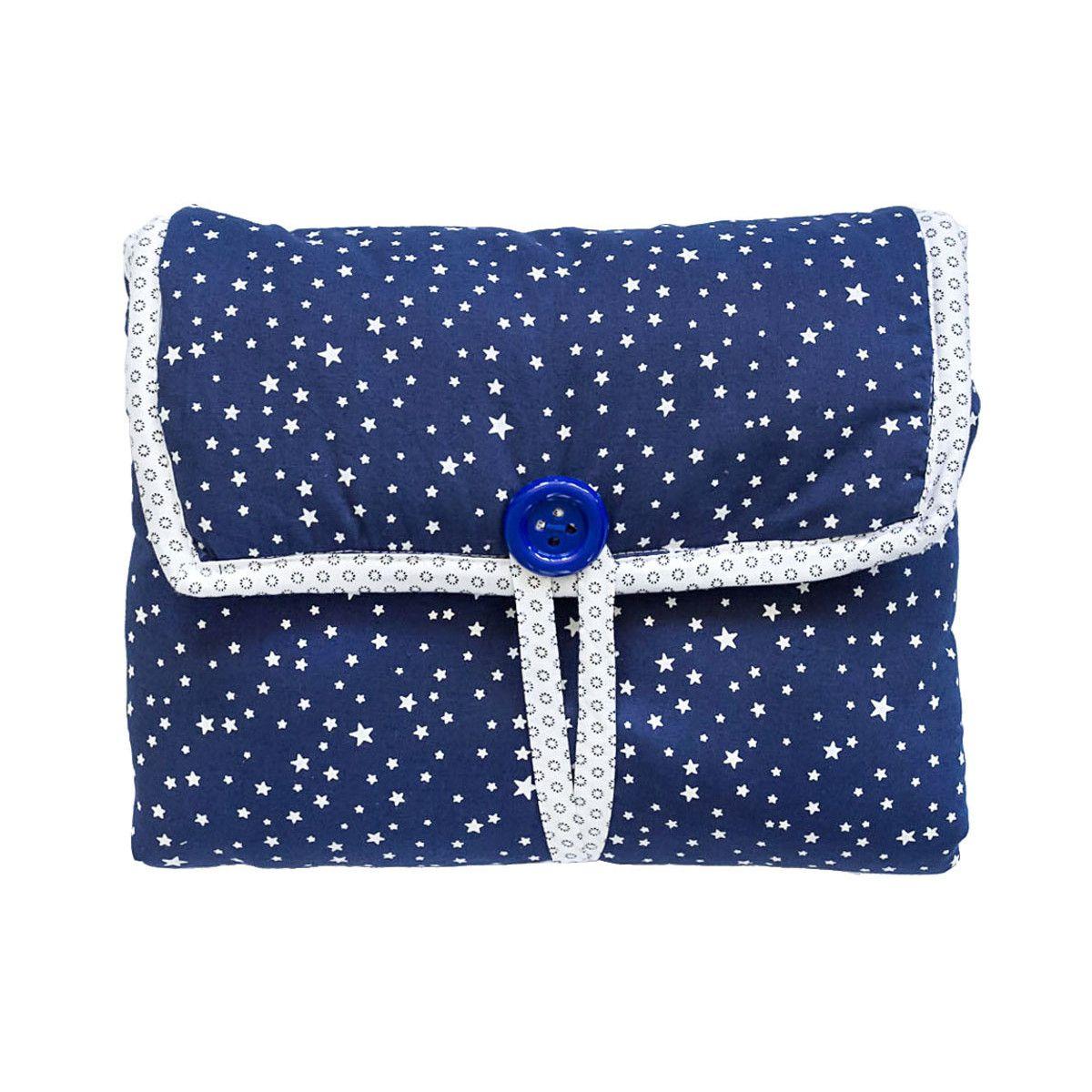 Tapis à langer nomade de voyage bébé coton éponge bleu nuit et étoiles