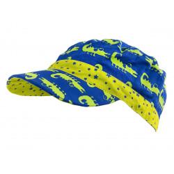 Casquette en coton et réversible pour enfant 1-8 ans bleu et crocodiles vert