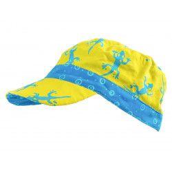 Casquette en coton réversible pour enfant 1-8 ans vert jaune et geckos bleu