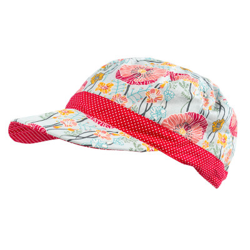 Casquette en coton réversible pour enfant 1-8 ans fleurs coquelicot et rouge à pois