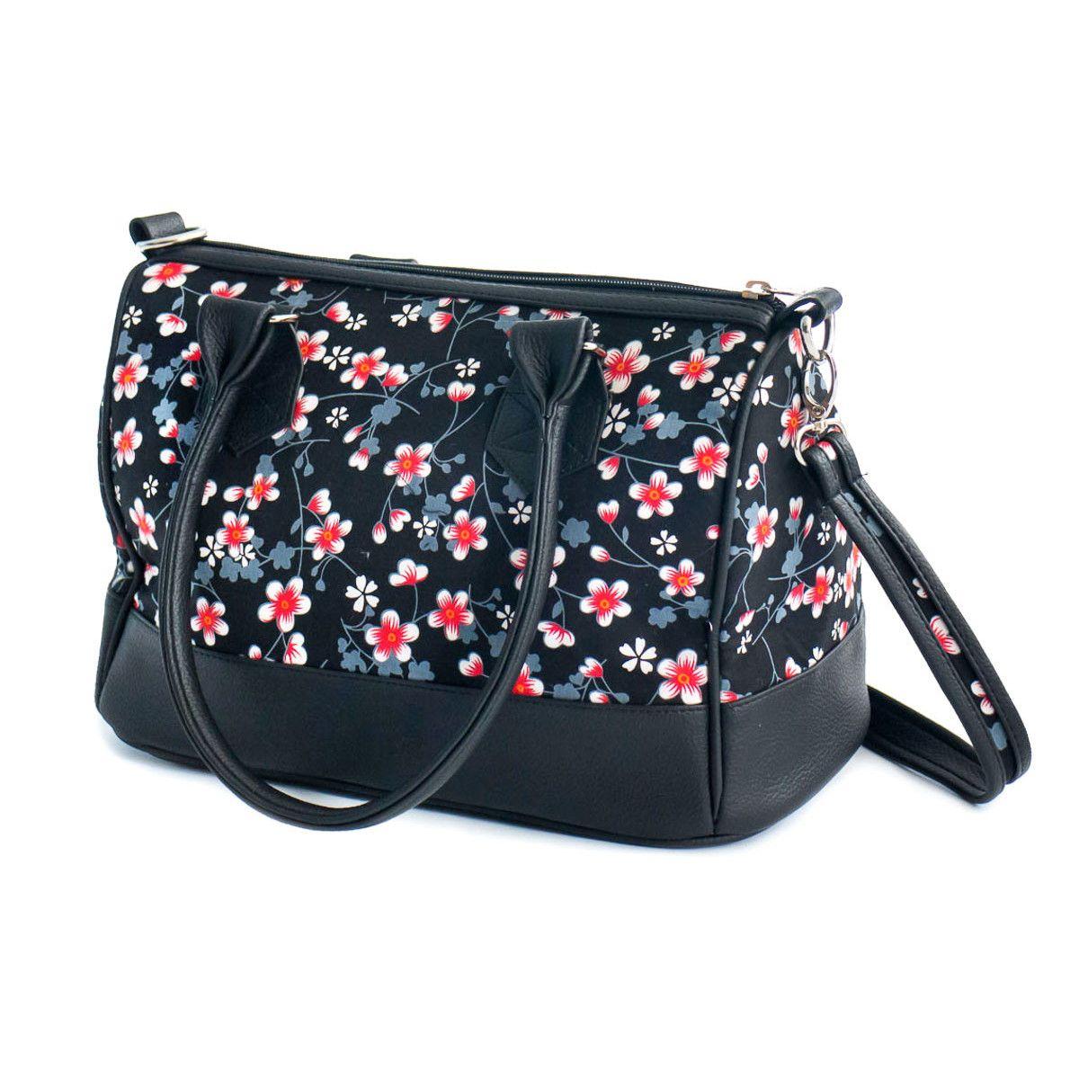 Sac à main femme bowling noir et fleurs cerisiers