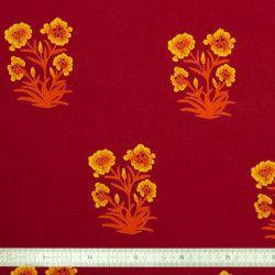 Tissu coton Bouquet rouge